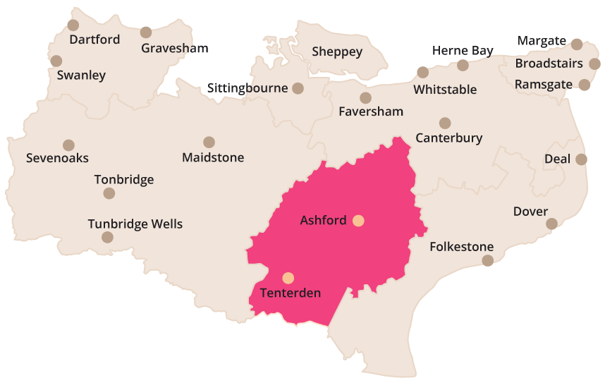 Map showing the Ashford service area