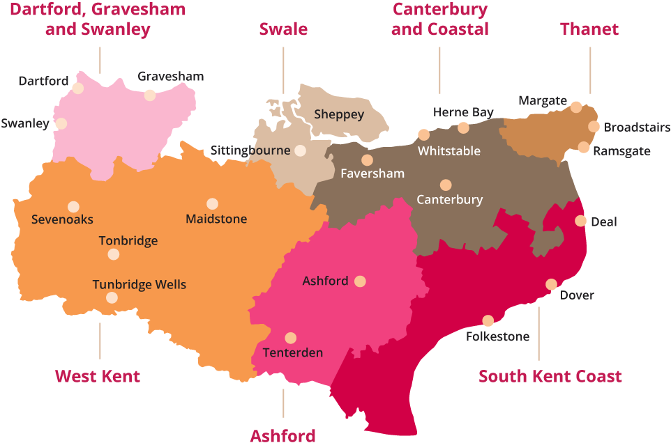A map of Kent showing our seven service areas