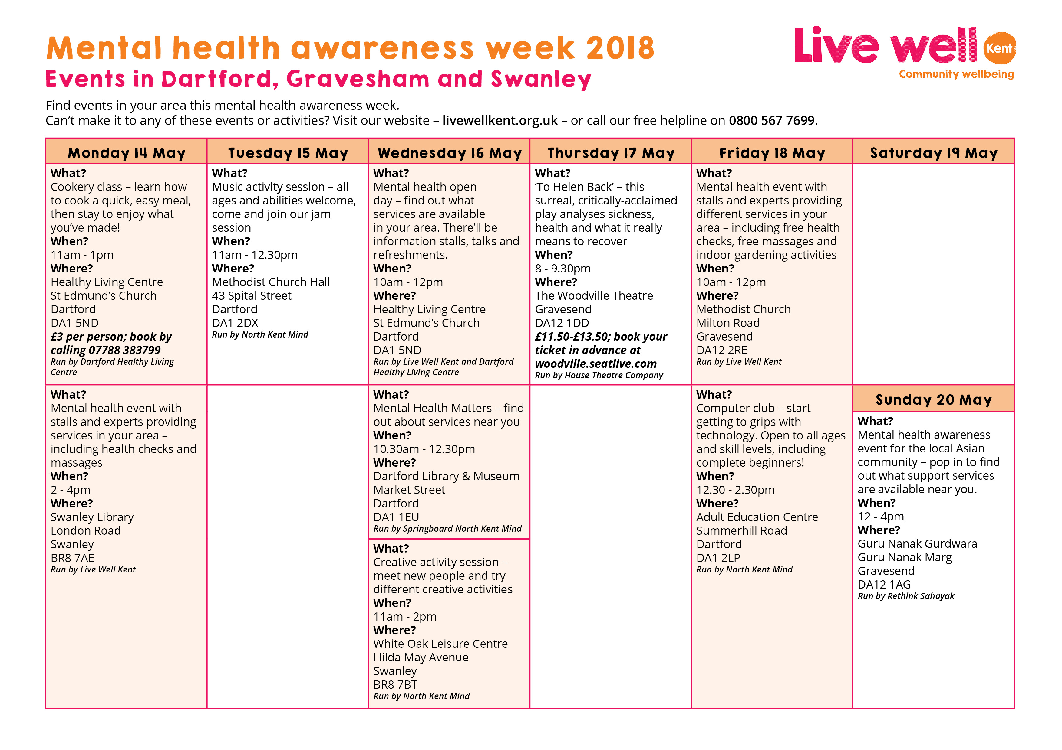 a calendar of events for mental health awareness week in dartford gravesham and swanley